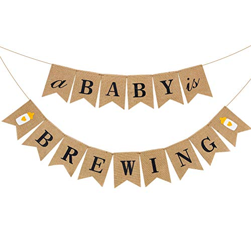 A Baby is Brewing Banner Linen Baby Shower Banner Gender Reveal Baby Bottle Banner for Pregnancy Celebration Diaper Party Decoration