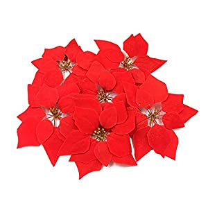 HMILYDYK 30PCS Xmas Tree Ornaments 8 INCH Red Poinsettia Flowers Festival Decor Artificial Flowers 27