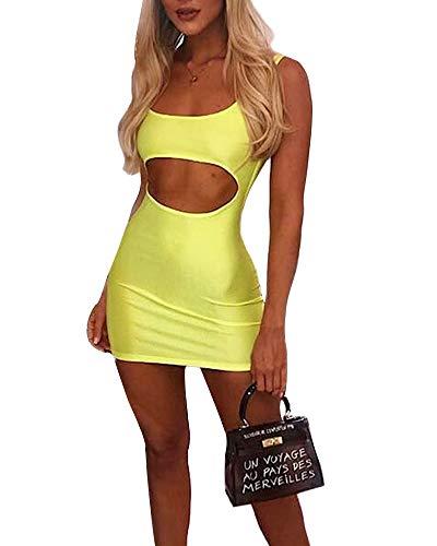Joyfunear Women's Sexy Kim Birthday Outfit Cut Out Satin Bodycon Mini Dress Neon Green Large -