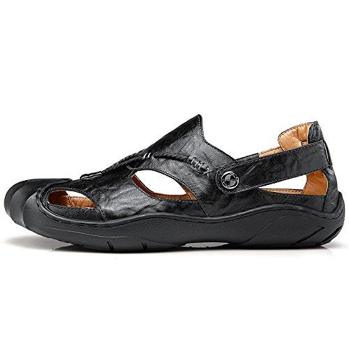 Ben Dromer Mens Visser Sandaal Leer Casual Outdoor Sportschoenen Zwart