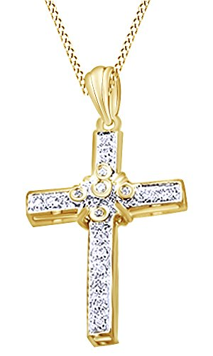 White Natural Diamond Cross Hip Hop Pendant in 14k Yellow Gold Over Sterling Silver (0.20 Cttw) by AFFY