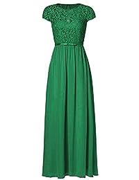 Ssyiz Women's Vintage Floral Lace Cap Sleeve Long Chiffon Bridesmaid Evening Dress