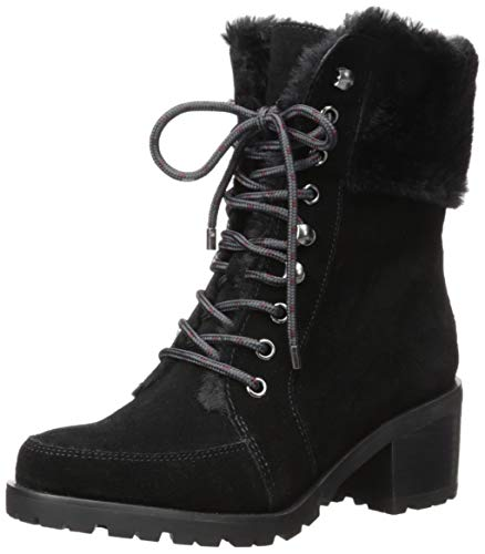 Aerosoles Women's GET Going Combat Boot, Black Suede, 6 M US