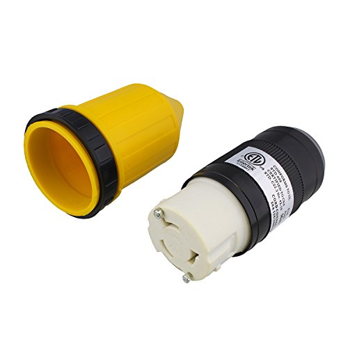 - ABN L5-50R Connector with RV Power Cord Cover & Ring - 50 Amp Twist Lock Inlet Locking Plug Protector, 50A 125/250VAC