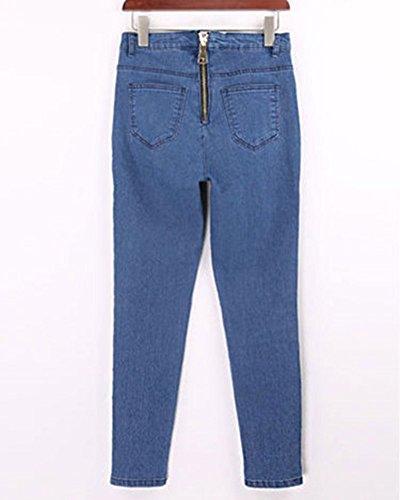 Posteriore Lunghi Donna Elastico Dritti Pantaloni Blu Cerniera DianShaoA Skinny Jeans Marino Pantaloni Slim 0TxvXq