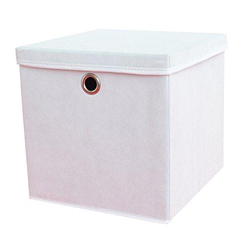2 Stück Faltbox Weiß 28 x 28 x 28 cm Aufbewahrungsbox faltbar mit Deckel