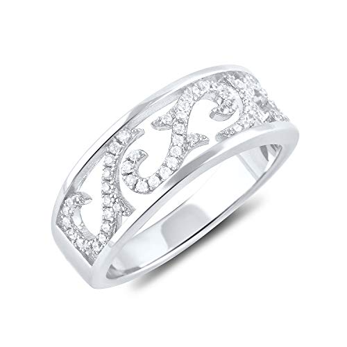 Sterling Silver Cz Filagree Vine Ring Size 5-9