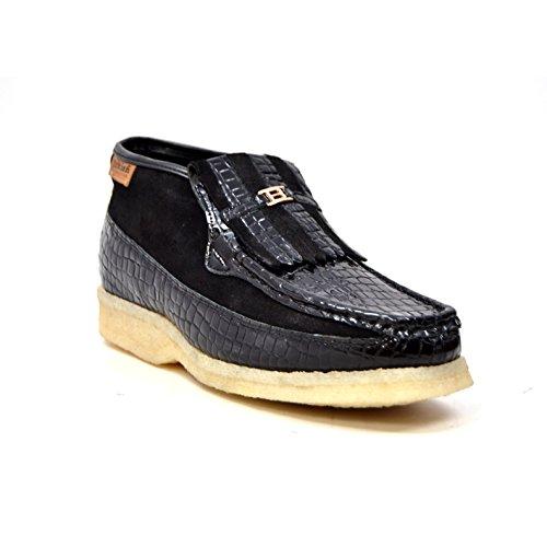 Collezione British - Apollo In Coccodrillo E Scamosciato Uomo Slip On Shoes Nero Croc
