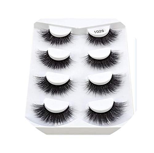 4 Pairs Natural False Eyelashes Fake Lashes Long Makeup 3D Mink Lashes Eyelash Extension Mink Eyelashes For Beauty,1026
