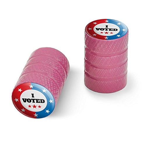 私は赤い白青愛国に投票しましたオートバイ自転車バイクタイヤリムホイールアルミバルブステムキャップ - ピンク
