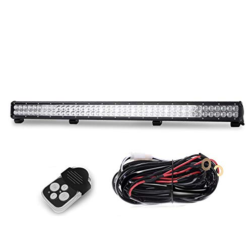 TURBO SII 39 inch Led Work Light Bar 252w Spot Flood Combo Beam Off-road Light bar with 1Lead Remote Control Wiring Harness Kit For Jeep Tractor Boat Off-Road SUV ATV Truck -