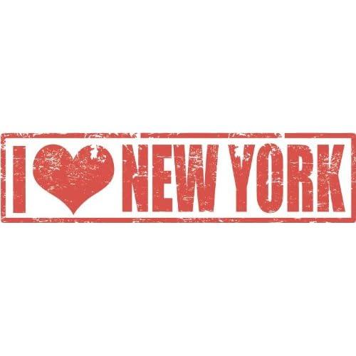 I Love New York United States Heart Stamp De Haute Qualite Pare-Chocs Automobiles Autocollant 12 x 5 cm