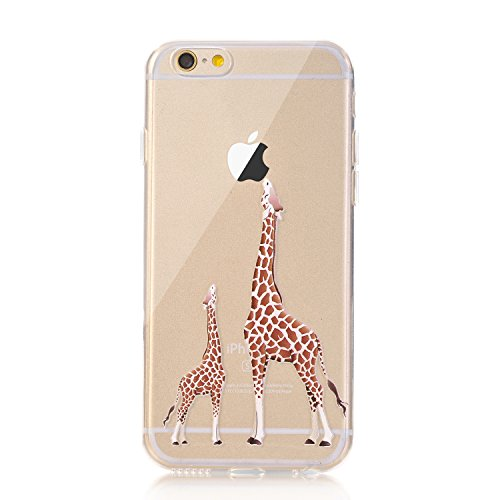iPhone 7 Case, LUOLNH [New Creative Design] Flexible Soft TPU Silicone Gel Soft Clear Phone Case Cover for iPhone 7 4.7 inch,(2 Giraffe)