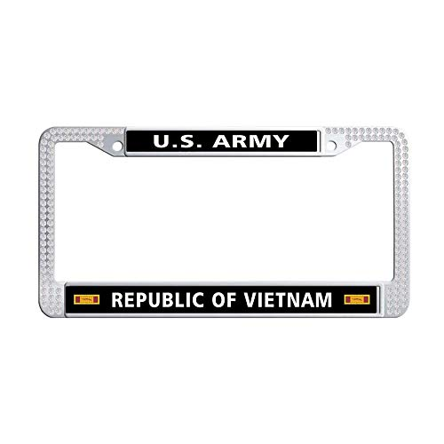 (GumiHolders US Army Republic of Vietnam Gallantry Cross Unit Citation Ribbon White Rhinestones Auto License Plate Frame, Shining Crystal Stainless Steel Auto License Plate Frame(12.25