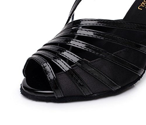 Strappy Buckle Leather Womens PU Fashion K6105 Sandals Dance Ballroom Black Kevin Latin wqWSZT7nI