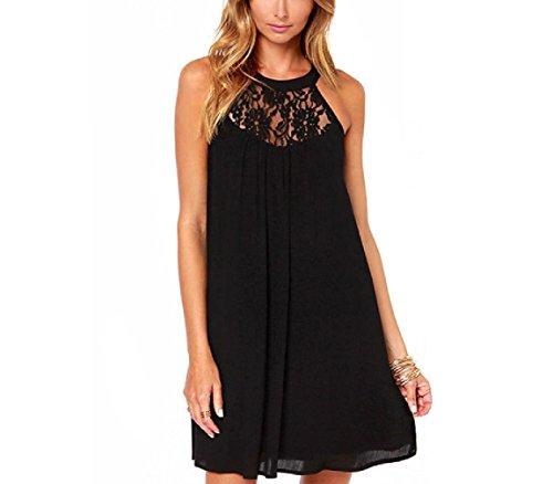 Dress Black Bohemian Dress Chiffon Cocktail Sleeveless Dress Lace A SYGoodBUY Women's Swing Lace line Patchwork Dress Zw611p