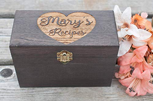 (Recipe Card Box with Personalized Engraving Wood Box With Clasp Color Choice 4x6 Recipe Card Box )