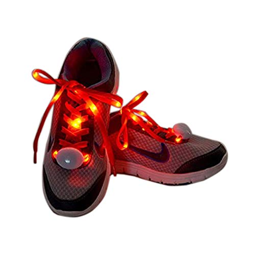 Flammi LED Nylon Shoelaces Light Up Shoe Laces with 3 Modes Disco Flash Lighting The Night for Party Hip-hop Dancing Cycling Hiking Skating Type C (Red)