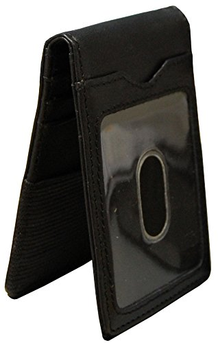 Winn Leather Money Clip With Outer ID - Black