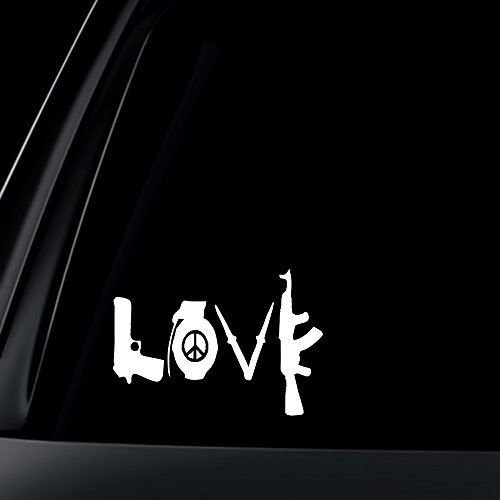 LOVE w/ Peace Sign Grenade AK Car Decal / Sticker (Car Stickers For Women compare prices)
