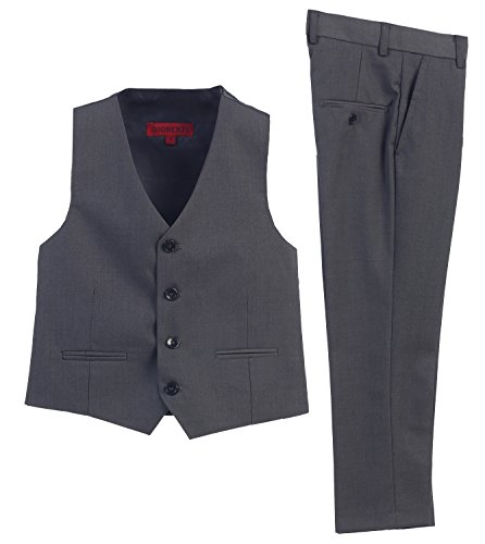 2 Piece Kids Boys Charcoal Vest and Pants Formal Set, 3T (Piece Toddler Sweater Boys 3)