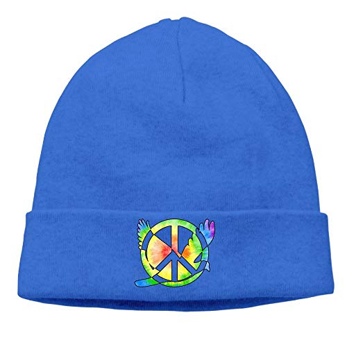 BBlooobow Unisex Rainbow Tie Dye Peace Sign Symbol Soft Knit Hats -