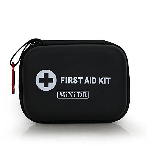 MiNi DR First Aid Kit 85 Pieces,Black Semi Hard Case for Emergency at Home, Outdoors, Travel, Hiking, Camping, Workplace