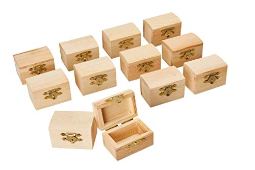 (Juvale Unfinished Wood Treasure Chest - 12-Pack Wooden Treasure Boxes with Locking Clasp, Mini Treasure Chest, for Party Favors, DIY Projects, Home Decor, Props, 2.3 x 1.5 x 1.5)