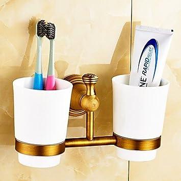 TBHCJ Porta cepillo de dientes,Soporte para Cepillo de Dientes / Gadget para Baño Latón Antiguo Montura en Pared 8.3*3.1*4.5 inch Latón Antiguo: Amazon.es: ...