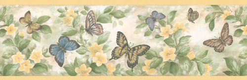 Brewster 137B38633 Kitchen Bath Bed Resource III Butterflies Wall Border, 6.875-Inch by 180-Inch, Yellow