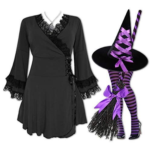 Plus and Regular Size Women's Halloween Witch Costume with Victoria Top, Hat and Tights Black/Purple 1x -