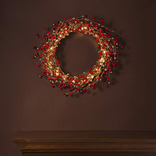 LampLust Lighted Christmas Wreath, Red and Gold - 20 Inch, Primitive/Rustic Twig Base with Pip Berries, 75 White LED Lights, Battery Operated, Timer Included, Front Door or Holiday Mantle Decor (Primitive Burlap Christmas Wreaths)