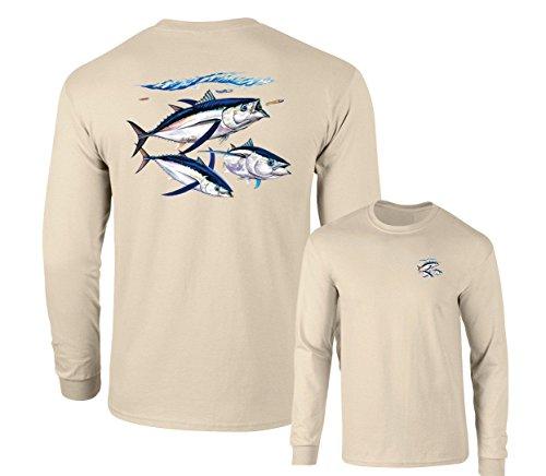 Albacore Tuna Fish Salt Water Fishing Long Sleeve T-Shirt, Sand, XL ()