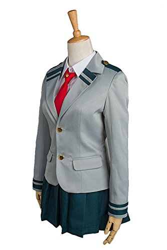 NoveltyBoy Boku no Hero Academia My Hero Academia Tsuyu School Uniform Jacket Shirt Coat Skirt Cosplay Costume (XXX-Large, Female)]()