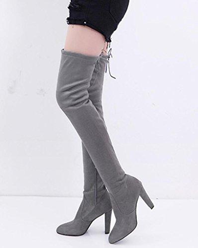 Gray Stirata Stivali delle Faux Alti Sopra Stivali SOMESUN Slim Alto Stivali Alti Donna Donne Ginocchio Tacchi Gli Tacchi Scarpe al dei wqgqpBv8R