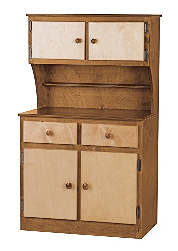 Children's Sink-Stove, Hutch, Fridge Combo-Heartland Collection -Walnut and Natural Color Amish Bedroom Hutch