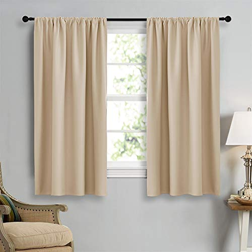 NICETOWN Blackout Room Darkening Curtains - Home Decoration Light & Noise Reducing Thermal Insulated Window Draperies with Rod Pocket Top (Biscotti Beige, Set of 2 Pieces, 42 Wide x 45 Long)
