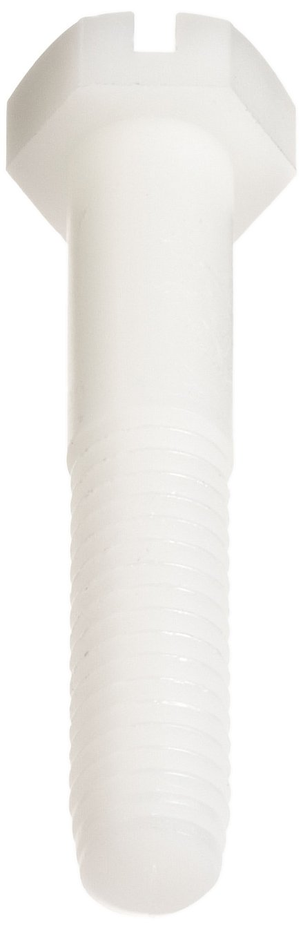 Slotted Drive 1//4-20 UNC Threads Plain Finish Off-White Pack of 100 Made in US 2-3//4 Length Hex Head Partially Threaded Nylon 6//6 Hex Bolt