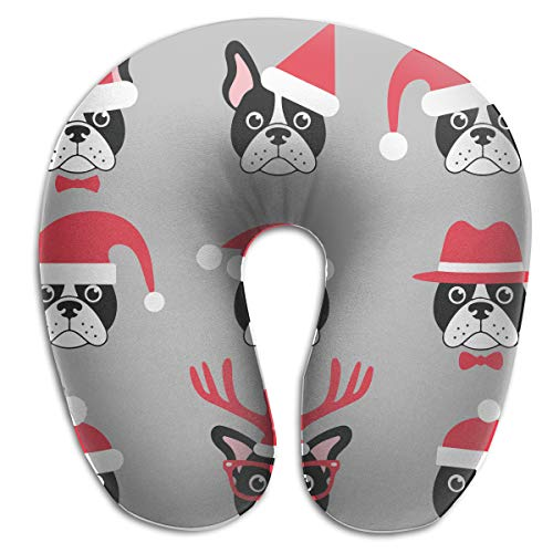 Santa Bulldogs Pillow (Chael Rhy U-Shaped Memory Foam Travel Neck Pillow French Bulldogs with Santa Hats U-Shaped Pillow Neck Pillow U Shaped Cushion Throw Pillow)