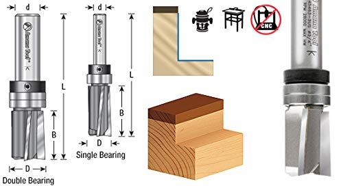 Amana Tool 45366-3US Carbide Tipped Flush Trim Plunge Template 3//4 D x 3//8 CH x 1//2 Inch SHK w//Upper Ball Bearing 3 Flute Router Bit