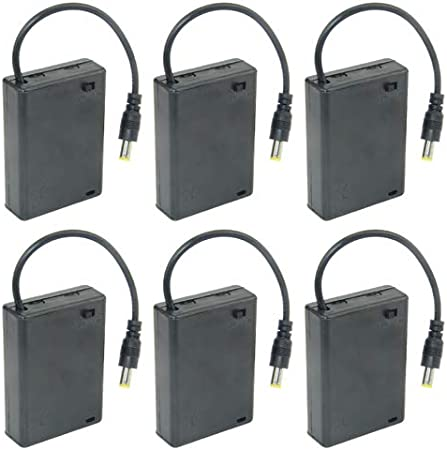 WMYCONGCONG 5 PCS DC 5.5x2.1mm Male Connector 4x1.5V 6V Battery Holder Case Box Wired On//Off Switch w// Cover
