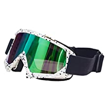 JOLIN Windproof Goggles Dustproof Scratch-Resistant Multicoated Optics Snowboarding Glasses Protective Safety Lens,White Frame with Coloured Lens