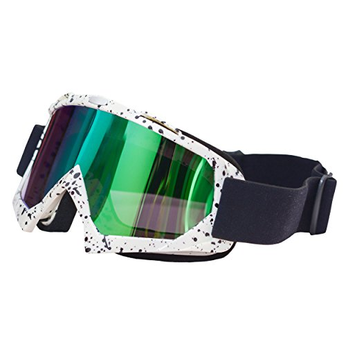 JOLIN Windproof Dustproof Scratch-Resistant Multicoated Optics Snowboarding Glasses Protective Safety Goggles,White Frame with Coloured - Sunglass Snowboarding