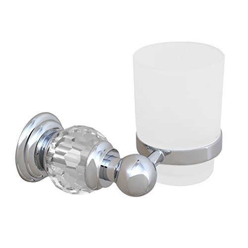 (Sumin Home QC2207MC Modern Luxury Crystal Wall Mounted Bathroom Single Glass Tumbler with Holder, Chrome)