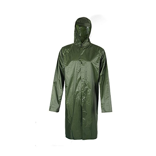 Rain Jacket with Sleeve, Military Poncho for Outdoor Camping Hunting Hiking Waterproof Ripstop PVC coating Lightweight Olive Green(XL)