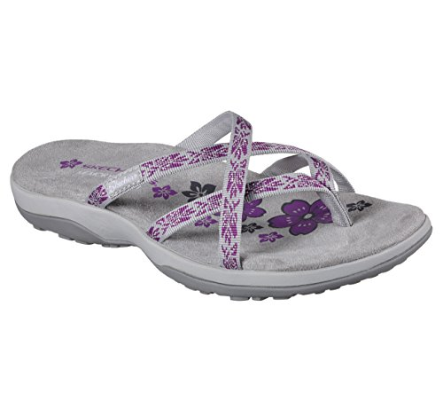 Skechers Women's Reggae Slim-Hula Flip Flop, Grey/Purple, 9 M US