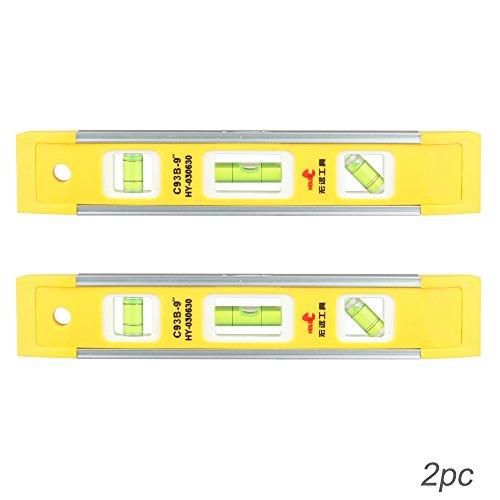 Dowell 9 Inch Magnetic Box Level Torpedo Level 2Pcs  3 Different Bubbles 45  90  180 Measuring Shock Resistant Torpedo Level