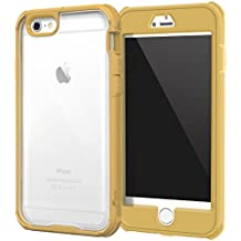 iPhone 6s Plus Case, roocase [Glacier TOUGH] iPhone 6 Plus (5.5-inch) Hybrid Scratch Resistant Clear PC / TPU Armor Full Body Protection Case Cover with Built-in Screen Protector for Apple iPhone 6 Plus, Fossil Gold