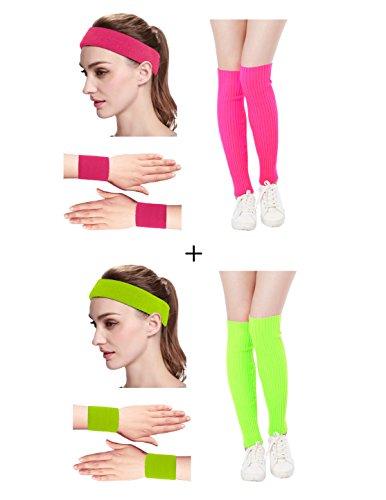 Kimberly's Knit Women 80s Neon Pink Running Headband Wristbands Leg Warmers Set (Free, -