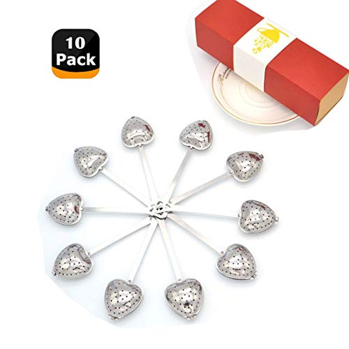 Tea Filter Long Grip Stainless Steel Mesh Heart Shaped Tea Strainer Spoon, Set of 10 Tea Infuser Spoon (Tea Bag Spoon)